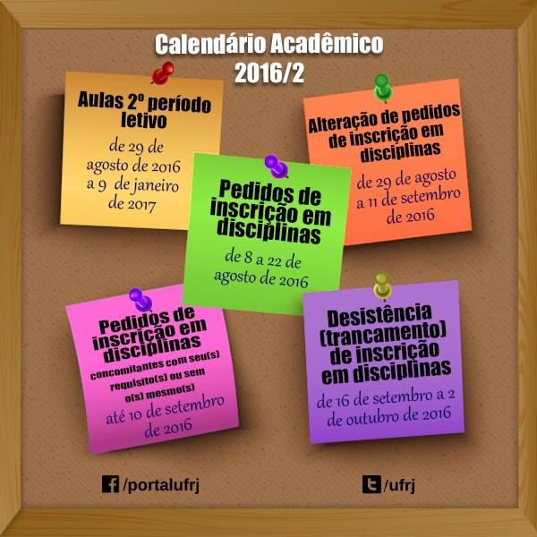 Calendário Acadêmico 2016-2